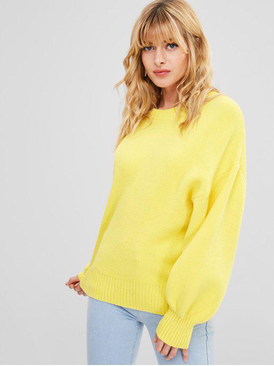 Puff Ärmel übergroßen Pullover - Gelb Eine Größe