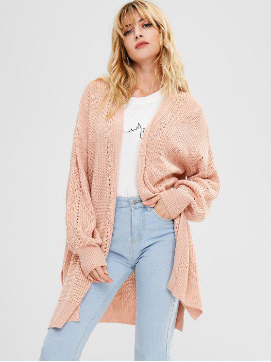 ZAFUL Blouson Sleeve offene lange Strickjacke - Orange Rosa L
