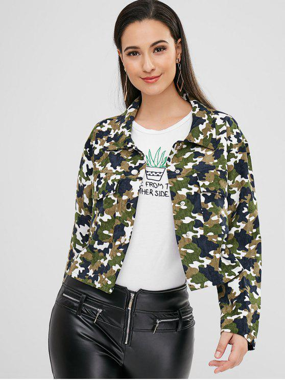 best ZAFUL Snap Button Camouflage Corduroy Jacket - CAMOUFLAGE GREEN S