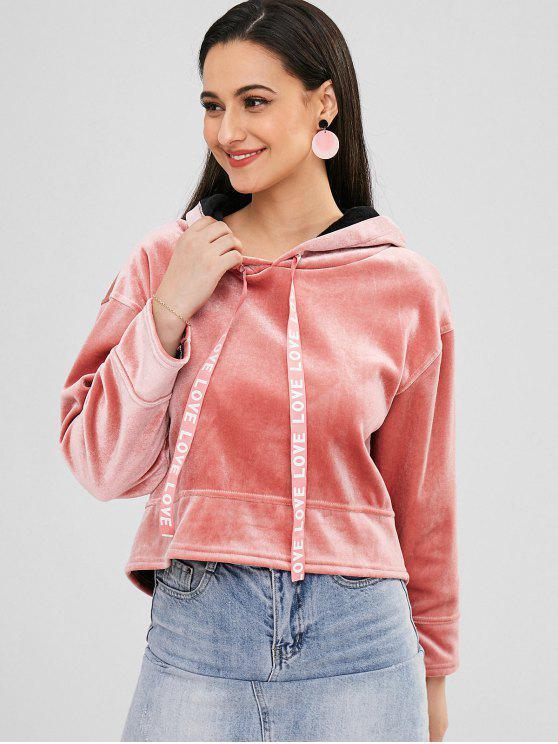 Samt-Fleece-Schulter-Kapuzenpullover - Rosa XL