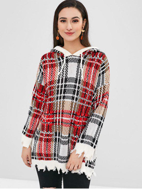 shop Plaid Ripped Hooded Sweater - MULTI ONE SIZE