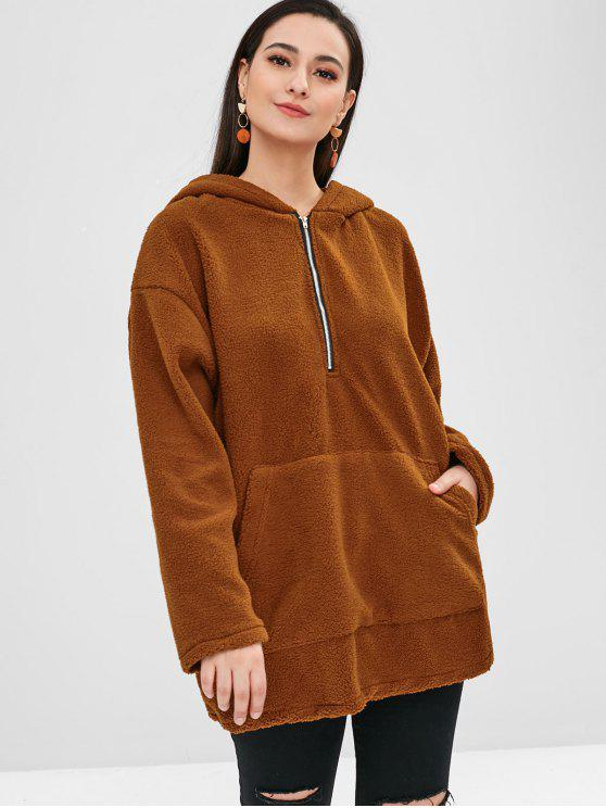 fashion Fluffy Half Zipper Pocket Hoodie - BROWN L