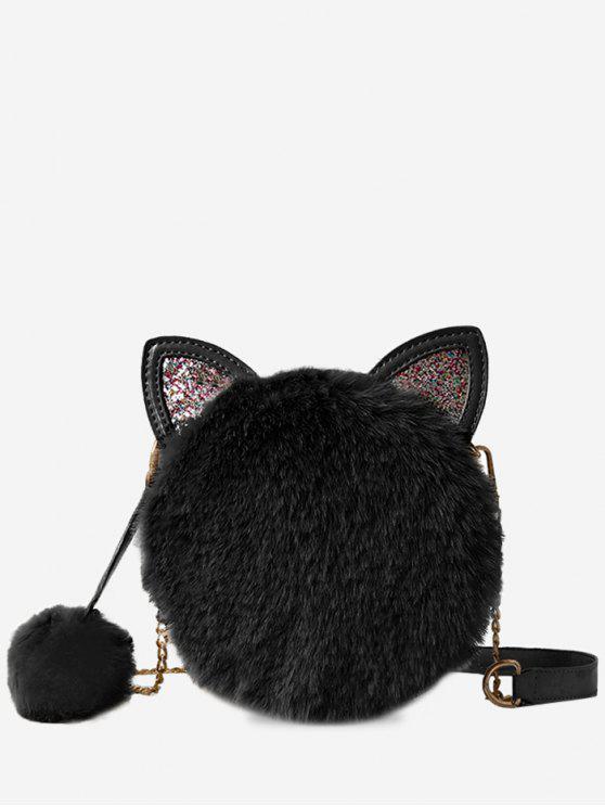 Cat Shape Faux Fur Crossbody Bag Black Gray Khaki Light Pink White