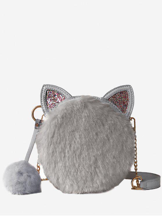 buy Cat Shape Faux Fur Crossbody Bag - GRAY