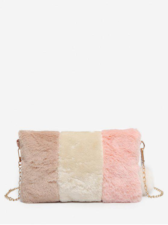 43f98960c3e 2019 Color Block Faux Fur Crossbody Bag In LIGHT PINK   ZAFUL