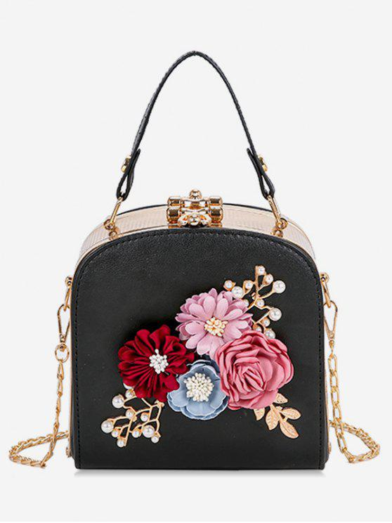 lady Hasp Closure Flower Chain Crossbody Bag - BLACK