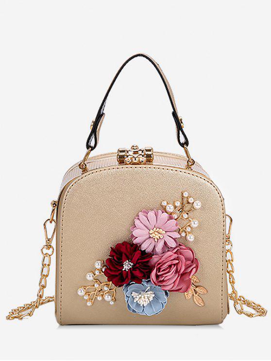 fashion Hasp Closure Flower Chain Crossbody Bag - LIGHT KHAKI