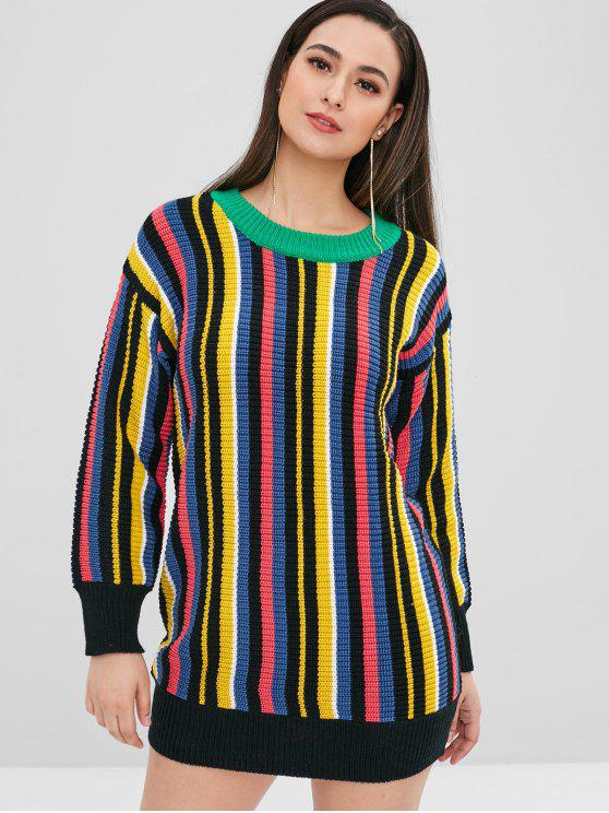 affordable Multicolor Striped Chunky Sweater - MULTI ONE SIZE