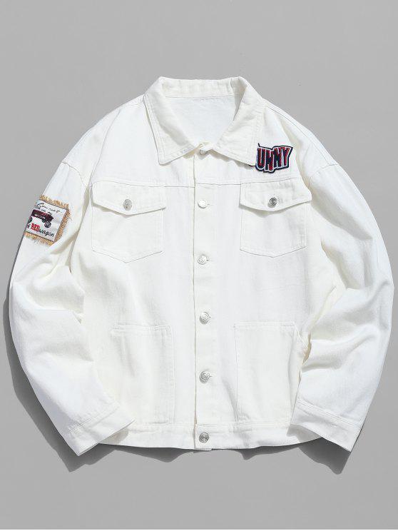 chic Multi Pocket Applique Embellished Denim Jacket - WHITE XL