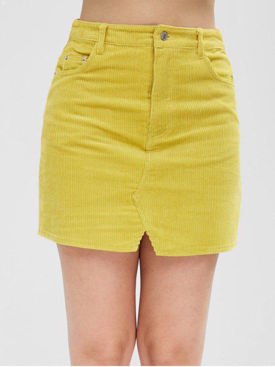 Mini saia de bolsos de veludo - Vara de Ouro L