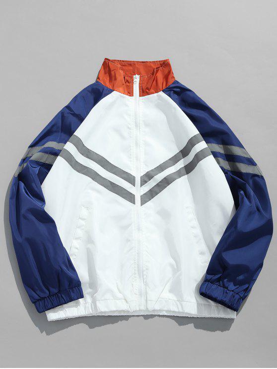 best Panel Raglan Sleeve Striped Jacket - BLUE XL