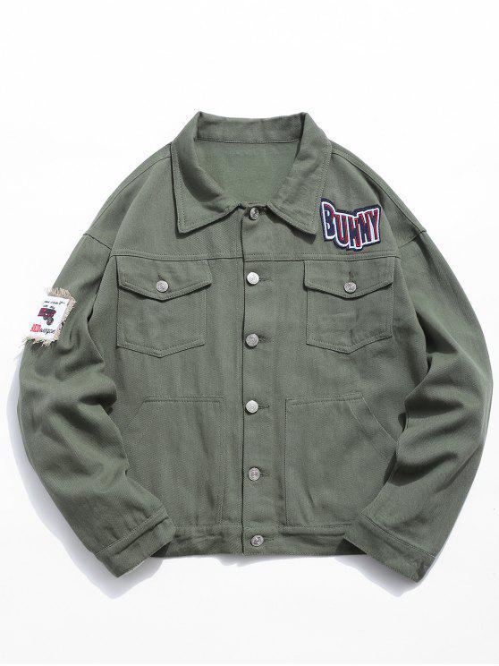 hot Multi Pocket Applique Embellished Denim Jacket - ARMY GREEN 2XL