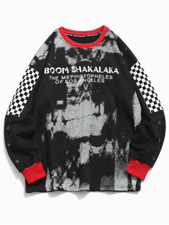 Sweat-shirt à carreaux et patchwork - Noir 2XL