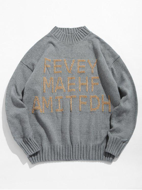 unique High Neck Letter Printed Pullover Sweater - GRAY M