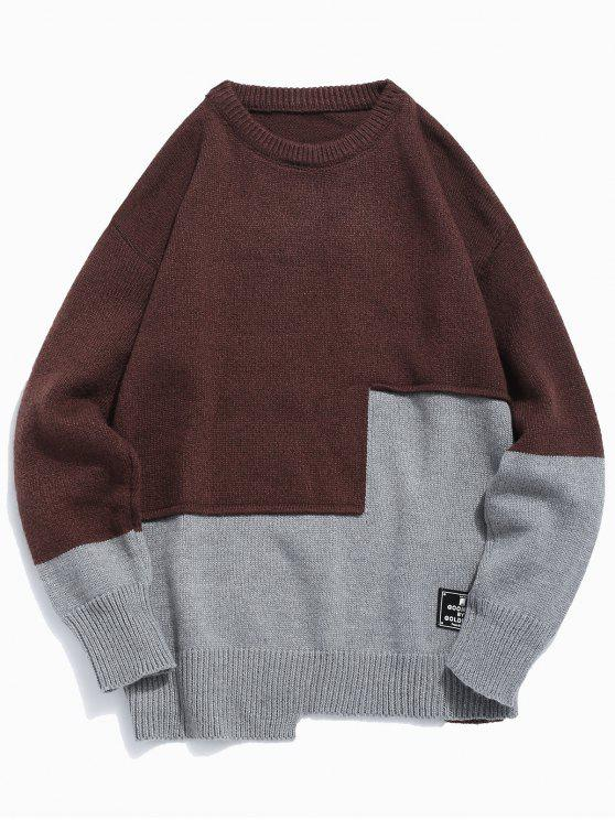 hot Round Neck Contract Color Pullover Sweater - COFFEE XL