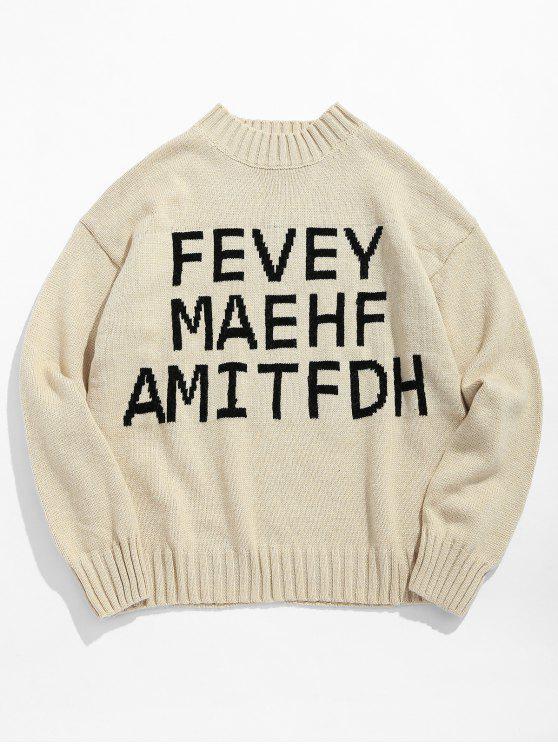 Maglione Pullover Stampato Lettere Con Collo Alto - Cachi Chiaro M