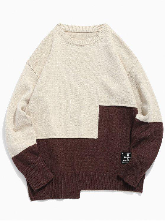 shops Round Neck Contract Color Pullover Sweater - WARM WHITE 2XL