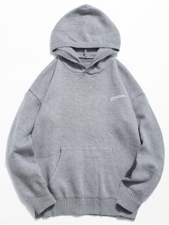 women Solid Color Hooded Pullover Sweater - GRAY CLOUD 2XL