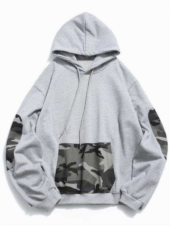 Sweat à Capuche Camouflage Jointif avec Poche Kangourou BLACK GRAY CLOUD
