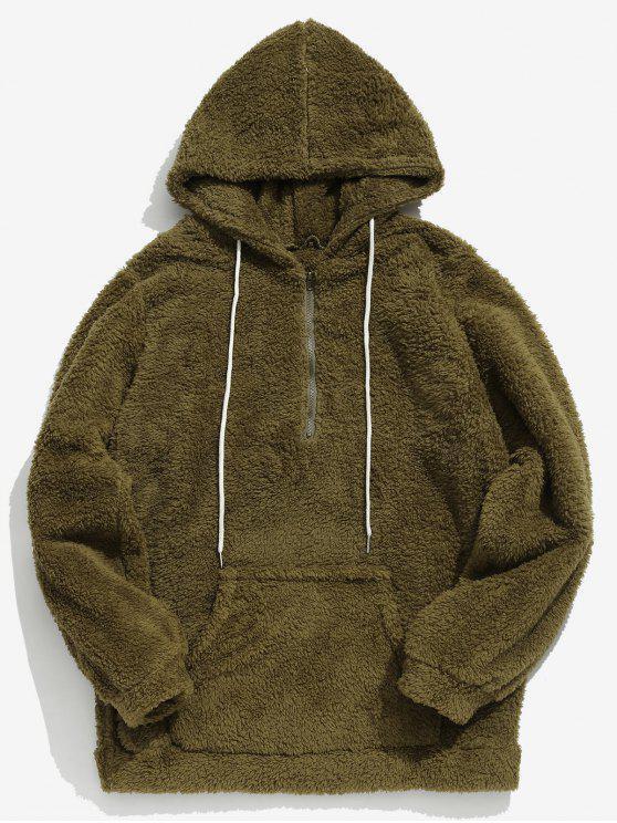 affordable Drawstring Half Zip Faux Fur Hoodie - ARMY GREEN L