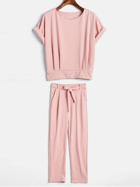Top E Pantaloni In Tinta Unita Con Cintura - Rosa Chiaro XL