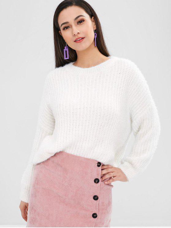 Maglione Plus Size In Tinta Unita - Bianca Taglia unica
