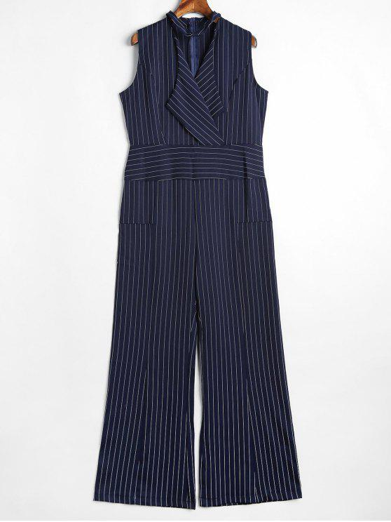 fancy Sleeveless Choker Stripes Jumpsuit - MIDNIGHT BLUE L