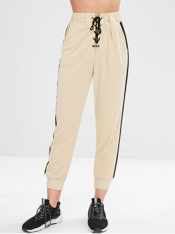trendy ZAFUL Joggers Terry Sweatpants - BLANCHED ALMOND M