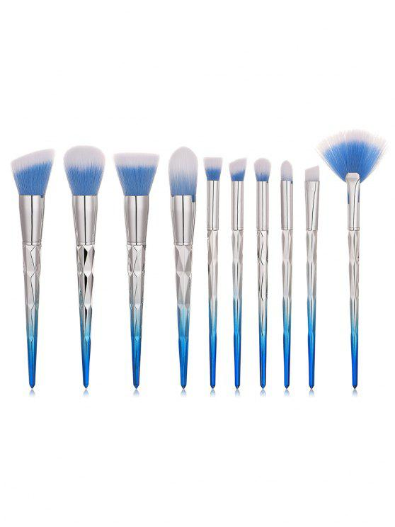 fancy Professional 10Pcs Two Tone Handle Fiber Hair Cosmetic Brush Suit - CRYSTAL BLUE