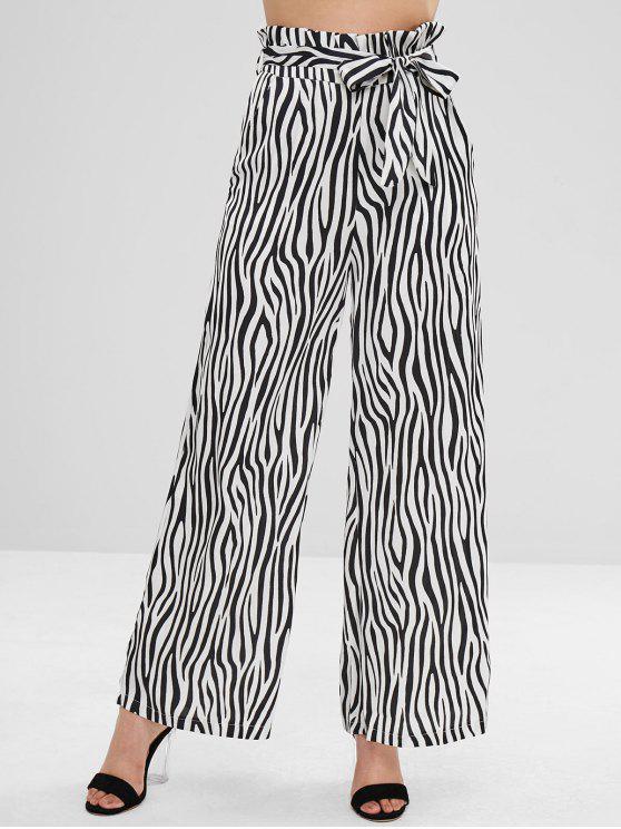 fashion ZAFUL Zebra Print Belted Wide Leg Pants - BLACK M