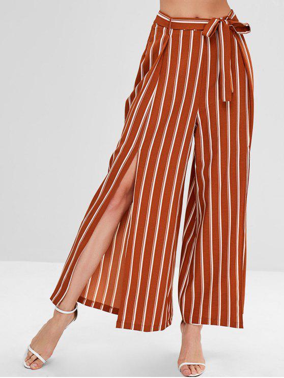 womens ZAFUL High Slit Striped Belted Pants - TIGER ORANGE XL
