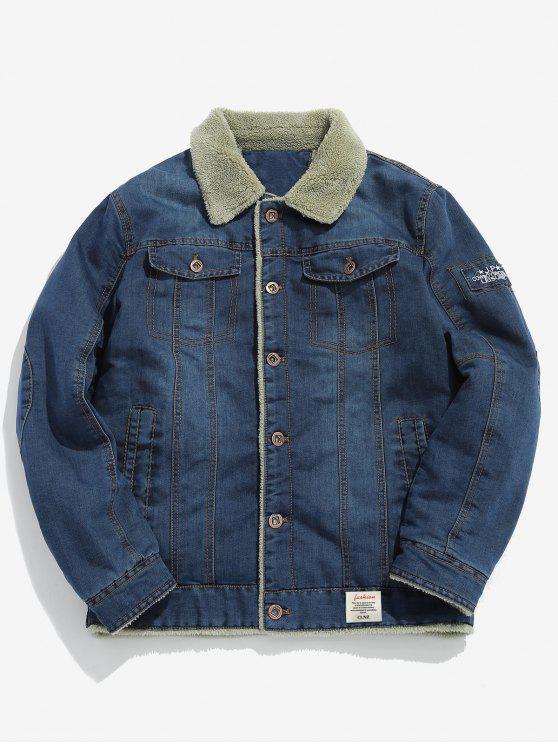 unique Fluffy Lined Denim Jacket - BLUE KOI L