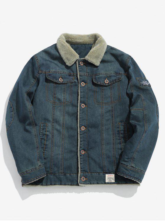 women's Fluffy Lined Denim Jacket - MIST BLUE S