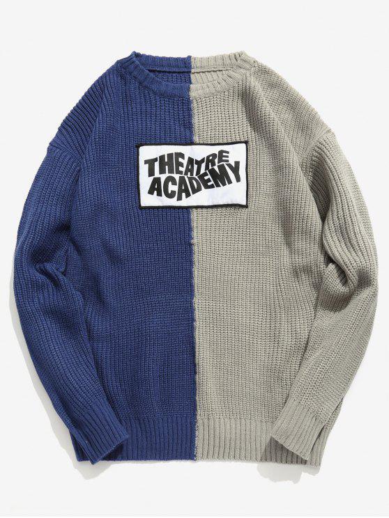 women Letter Patchwork Color Block Knit Sweater - LAPIS BLUE M