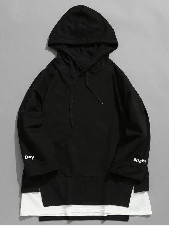 affordable Contrast Double Hem Hoodie - BLACK M