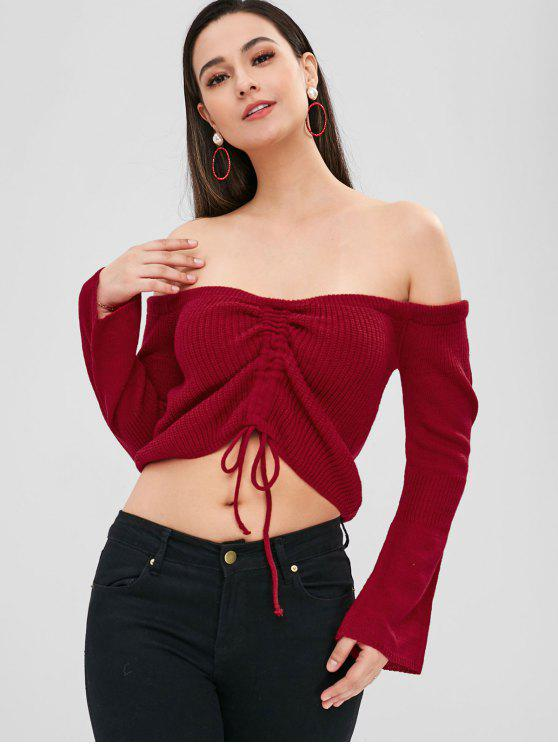 affordable ZAFUL Off Shoulder Cinched Crop Sweater - RED L