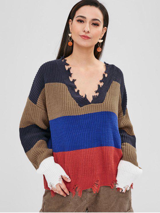 online ZAFUL Frayed Oversized Stripes Sweater - MULTI ONE SIZE