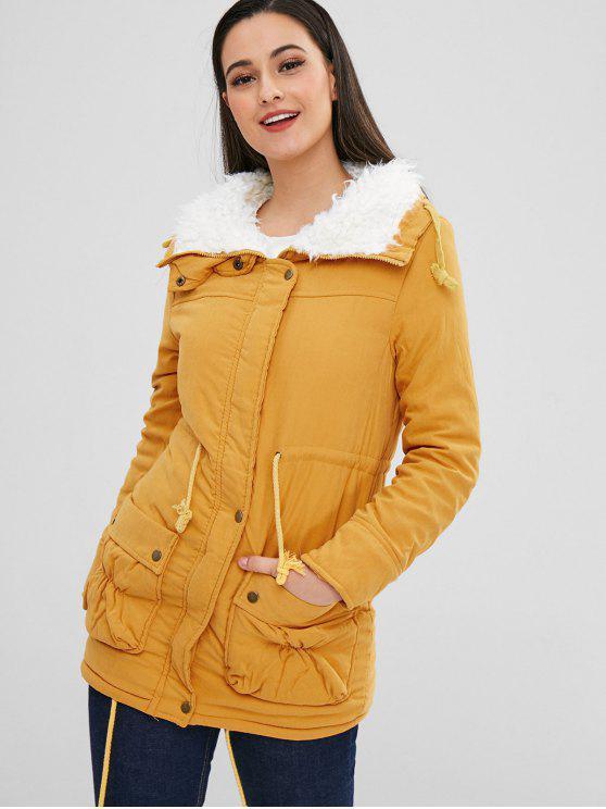 sale Faux Fur Lined Parka Winter Coat - MUSTARD L
