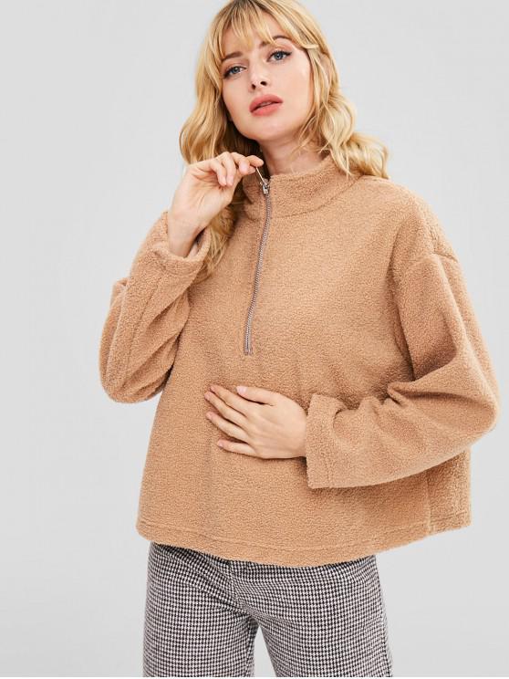 fancy Half-zip Oversized Faux Shearling Sweatshirt - LIGHT KHAKI S