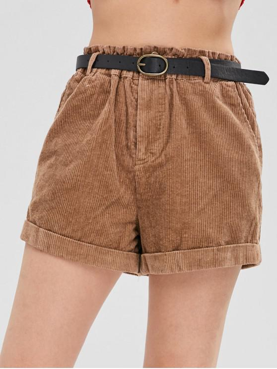 trendy Rolled Belted Corduroy Shorts - LIGHT BROWN M