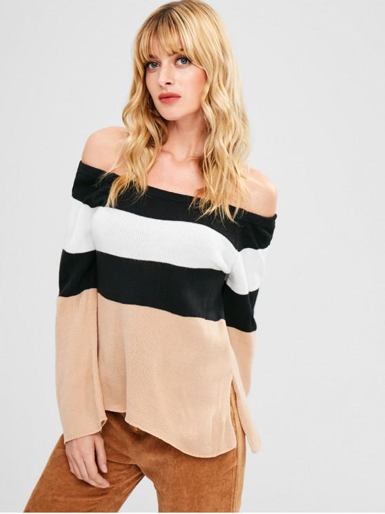chic Off Shoulder Side Slit Contrast Sweater - MULTI L