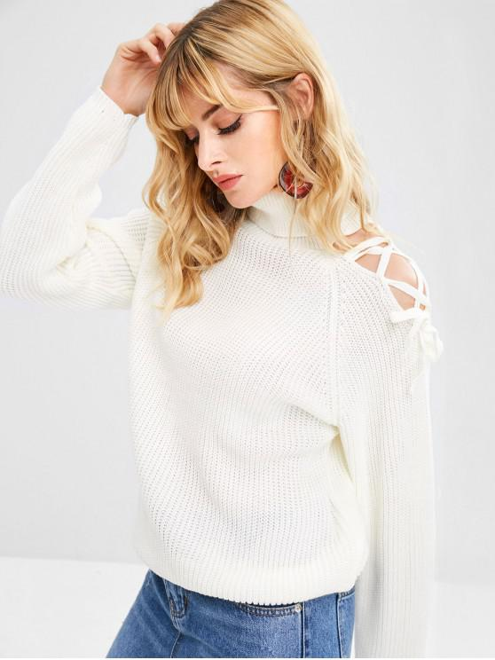 unique Lace Up Turtleneck Chunky Sweater - WARM WHITE M