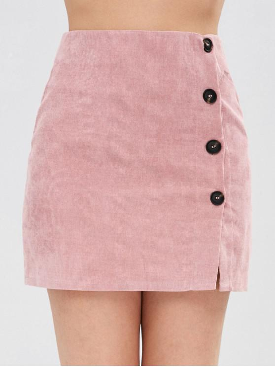 women Corduroy Buttoned Mini Skirt - PINK S