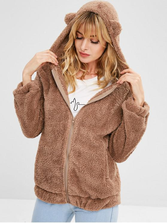 fashion Zipper Fluffy Hooded Coat - BROWN ONE SIZE