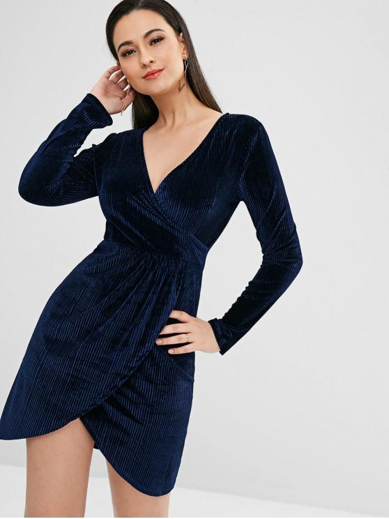 ladies ZAFUL Long Sleeve Striped Velvet Dress - DEEP BLUE S