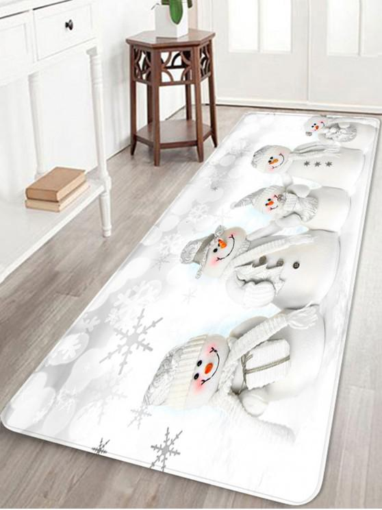 shops Christmas Snowmen Family Pattern Anti-skid Area Rug - WHITE W24 X L71 INCH