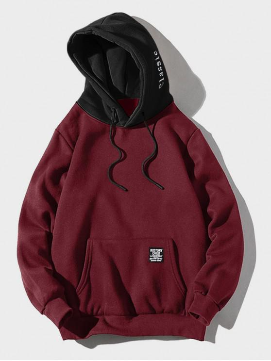 fancy Color-blocking Letter Patch Detail Pouch Pocket Fleece Hoodie - RED WINE XL