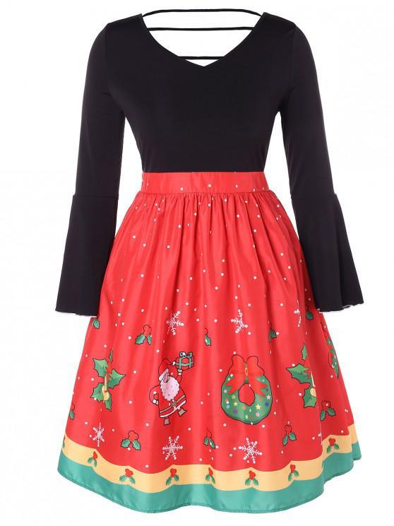 women's Christmas Plus Size Printed Cut Out Dress - BLACK 1X