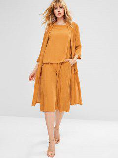 Blouse Pants Duster Coat Three Piece Set - Mustard M
