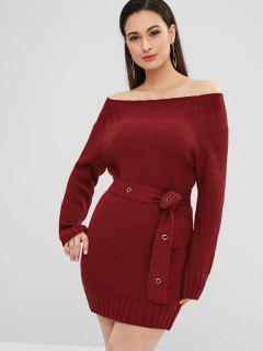 Off Shoulder Belted Mini Sweater Dress - Red Wine